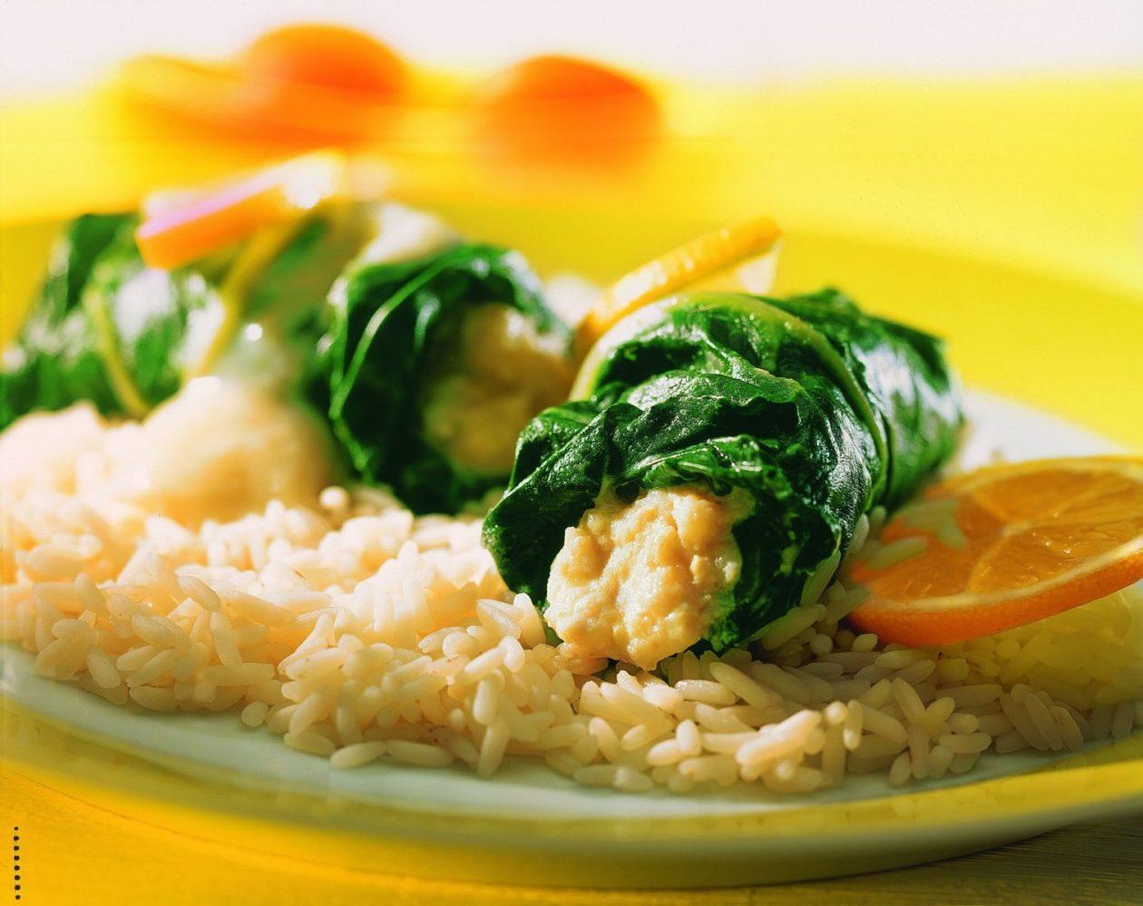 Fischröllchen in Mangold - BCM Diät Rezepte.ch