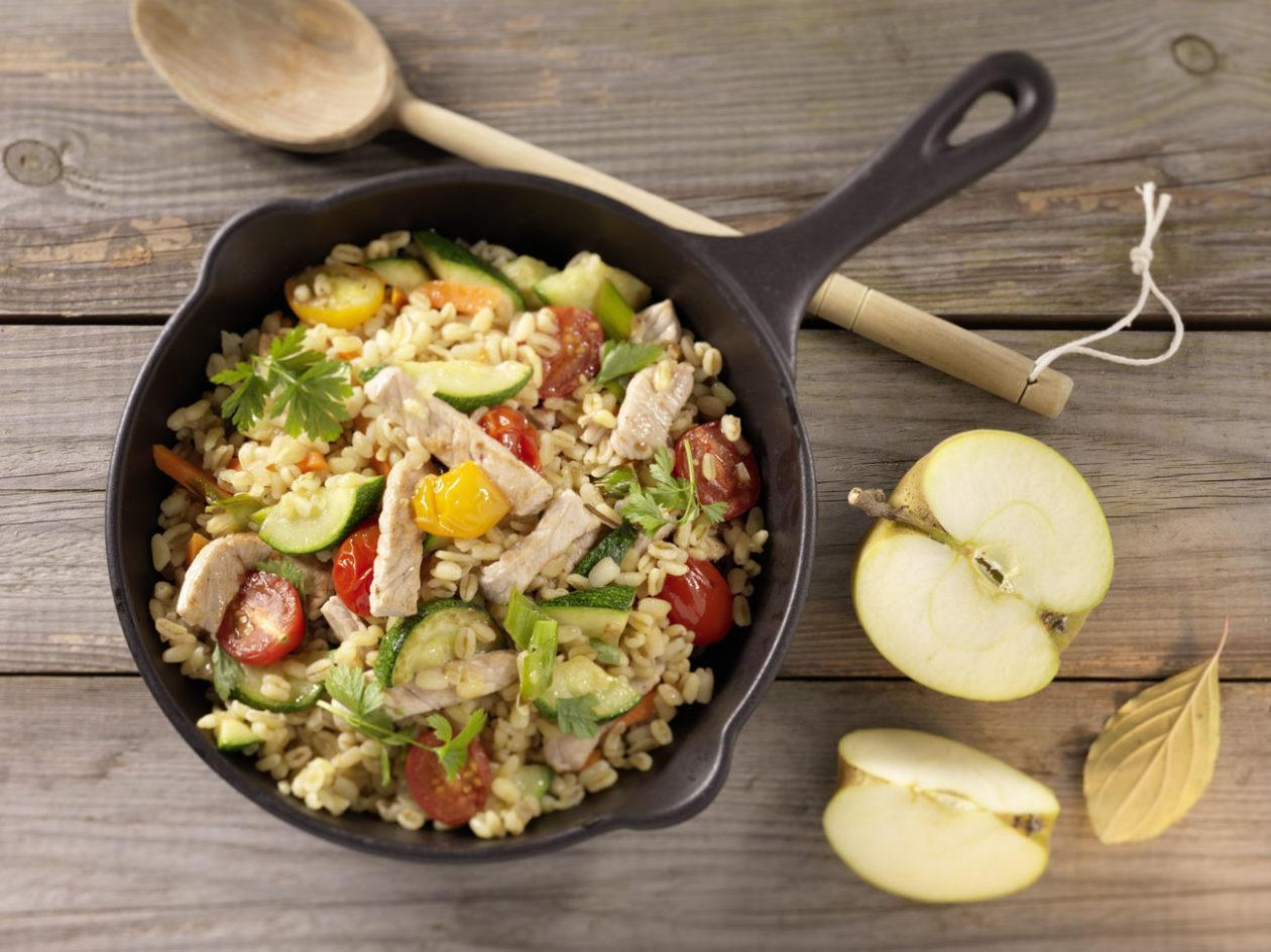 Fleisch-Gemüsepfanne mit Zartweizen - BCM Diät Rezepte.ch