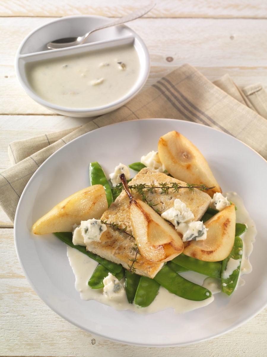 Gebratener Tofu mit Birne, Zuckerschoten und Gorgonzola - BCM Diät Rezepte.ch